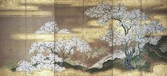 Tosa Mitsuoki (1617-91). Cherry Trees at Yoshino. Edo period (1615-1868), late 1650s-1660s? Right of a pair of six-panel Japanese folding screens; ink, color, and gold on paper.