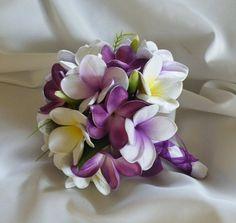 Purple Frangipani Plumeria Teardrop Bouquet by Abloomortwo on Etsy