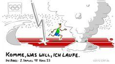 """""""#Ahimaaz sprach: #Komme, was da #will, ich #laufe. Er sprach zu ihm: So lauf! Da lief #Ahimaaz auf dem #Weg durchs #Jordantal und kam dem #Kuschiter zuvor.""""    #2.Samuel 18:23    #glaubensimpulse"""