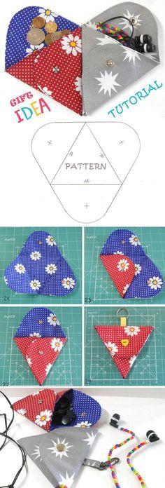 Triangle Folding Pouch pattern is a creative DIY accessory. Tutorial & Pattern http://www.free-tutorial.net/2017/01/triangle-folding-pouch-tutorial.html