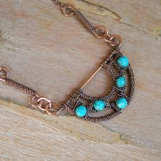 Artisan Half Circle Copper and Turquoise by NeroliHandmade on Etsy, $40.00