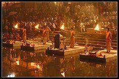 VARANASI:  Aarti ceremony - putting the river to bed.  Ganga Aarti at Dasashwamedh Ghat by Shashanka Nanda, via Flickr