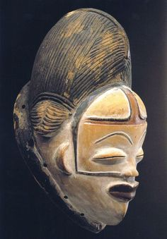 White Punu mask with jugal scarification African Masks, African Art, African Women, African Pottery, African Sculptures, Art Premier, Art Africain, Black Artwork, Beautiful Mask