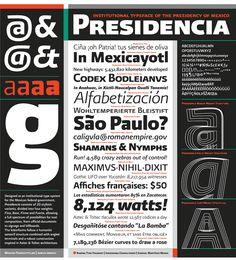 Identidad institucional para el Gobierno de México, 2006. Juego de pesos tipográficos de Presidencia Sans.