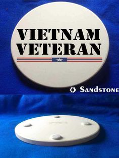 This beautiful & patriotic Vietnam Veteran Sandstone Coaster is a must-have. Full color design custom baked into the stone for long lasting color; felt pads to prevent table scratching; strong, durable & absorbent for all types of drink ware.