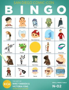 Mike Yamada and Victoria Ying of Extracurricular Activities created a San Diego Comic-Con Bingo card