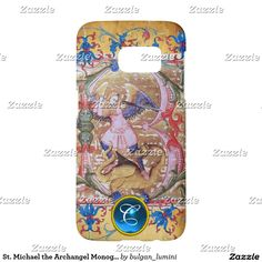 St. Michael the Archangel Monogram Antique Floral Samsung Galaxy S7 Case #sacredart #medieval #angels #religious