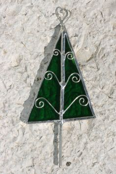Stained Glass Tree Ornament for Christmas by FunktionLust on Etsy