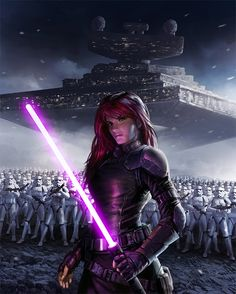 Mara Jade - note she also has a purple lightsaber, the balance between red and blue/ the balance between the light and dark sides of the force.
