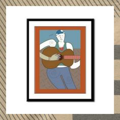 """""""Woman with Guitar"""" framed panel print by Jennifer Robin Designs"""