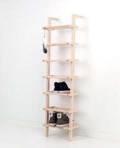 1 large lean on shoe rack made of ash - Vertical Shoe Rack