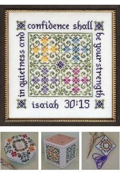 My Big Toe Designs Quietness and Confidence - Cross Stitch Pattern. In quietness and confidence shall be your strength - Isaiah Models stitched on Biscornu Cross Stitch, Cross Stitch Kits, Cross Stitch Designs, Cross Stitch Patterns, Crewel Embroidery Kits, Cross Stitch Embroidery, Embroidery Thread, Swedish Weaving, Cross Stitch Boards