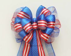Red White Blue Bow July 4th Wreath Bow by SimplyAdornmentsss