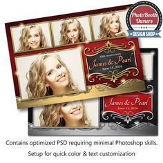 This ornate template features a rich textured fabric background trimmed with elegant metallic-plated accents. Perfect for any sophisticated events such as wedding, anniversaries, proms and many more. All elements can easily be color adjusted to compliment any event. This template is a postcard arranged in a 3×1 photo arrangement.