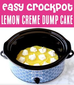 Dump Cake Recipes! Easy desserts are always a good idea, and this sweet and tangy lemon dump cake with cream cheese will become a fast favorite! Go grab the recipe and give it a try this week! Easy Summer Desserts, Summer Dessert Recipes, Fun Desserts, Lemon Dump Cake Recipe, Dump Cake Recipes, Easy Lemon Pie, 4 Ingredient Desserts, Delicious Crockpot Recipes, Blueberry Dump Cakes