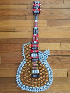 DIY Candy Guitar that I made my husband for Valentine's Day. Materials needed…