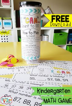 "Count to 100 in Kindergarten: FREE ""I CAN"" Math game covers all standards for COUNTING to 100 in Kindergarten. Perfect for Guided Math & Math Centers! {Common Core} FREE"