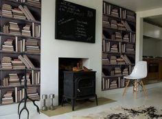 genuine-fake-bookshelf wall paper - tho I want the real thing this is pretty cool