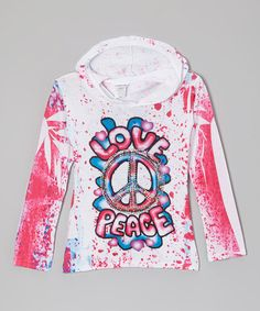 Take a look at this Red 'Love Peace' Sublimation Hoodie - Girls by Happy Kids for Kids on #zulily today!