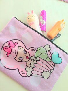 Sharodactyl Cupcake Bath Cosmetic Bag by SharodactylArt on Etsy, $20.00