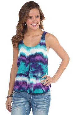 Deb Shops tie dye criss cross tank top