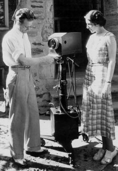 #Farnsworth  #Warehouse13 alert /  Philo T. Farnsworth, the inventor of all-electronic TV, and Mable Bernstein inspect one of his first portable television cameras, built in 1934.