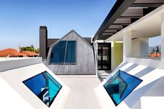 This residence in Kefalari combines a black and white aesthetic with the use of intense color in specific elements, making reference to children's sketches. Black And White Aesthetic, Contemporary, Modern, Tent, Sweet Home, Exterior, Traditional, Architecture, Color