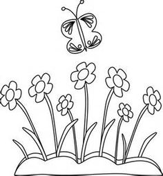 black and white spring flowers and butterflies card making rh pinterest com clipart black and white spring spring clip art black and white free