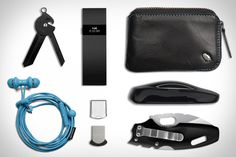 Tesla Model S Key Fob ($104,500+). Fit Bit Charge ($130). Everyman Porter Key Knife ($15). Bellroy Very Small Wallet ($60). Urbanears Kransen Earbuds ($50). SanDisk Ultra Fit Flash Drive ($110). Cold Steel Mini Tuff Lite Knife ($20)....