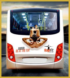 TopFit Bus: fitness center bus advertisement - photo from toxel Creative Advertising, Guerrilla Advertising, Shape Fitness, Up Fitness, Street Marketing, Guerilla Marketing, Gym Workouts, At Home Workouts, Fitness Motivation