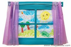 Art Window:: Craft a paper window that doubles as a frame for children's drawings and artworks - great for tackling themes on the weather or the changing seasons, and provides a venue for expressing feelings and creativity. Fun Crafts For Kids, Summer Crafts, Art For Kids, Arts And Crafts, Kids Fun, Daycare Crafts, 2nd Grade Crafts, Spring Art, Summer Art