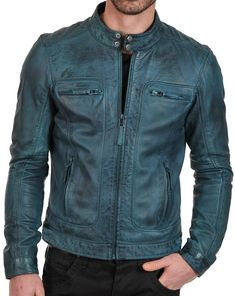 Men's waxed Green Biker leather jacket is teal color which reflects a solid green shade and affirms the double snap buttons on collar with style and fashion Biker Leather, Leather Men, Real Leather, Biker Style, Jacket Style, Leather Fashion, Mens Fashion, Style Fashion, Motorbike Leathers