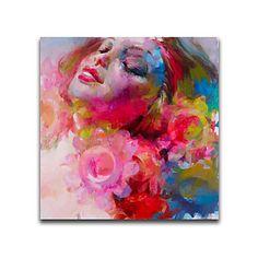 【今だけ☆送料無料】 アートパネル  人物画1枚で1セット ピンク 女性 優しい 表情【納期】お取り寄せ2~3週間前後で発送予定