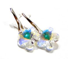 Find Sterling Silver 925 Stud Earrings Swarovski Crystal Flower , gift / bride in the Jewelry - Earrings category on Shamza