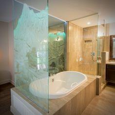 Custom etched glass tub surround with added LED edge lighting Etched Glass, Glass Etching, Tub Surround, Corner Bathtub, Custom Design, Led, Studio, Lighting, Interior