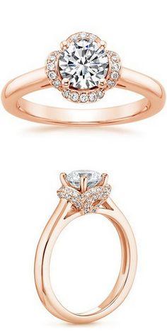 Rose Gold Fleur Diamond Ring