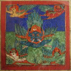 Carte de divination encadrée.  Pour plus de détails sur les tsakli lire cet article (en anglais) de asianart.com.  Tibet. 19ème-début 20ème siècle.  Cadre: 30 x 30 cm.