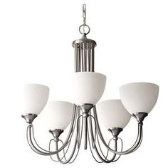 c674eee2e82 Soft white shades top the wirey curving frame of the five light Morgan  chandelier. Finished