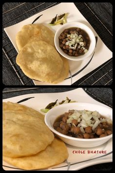 Chole bhature is a popular dish from the Punjab region of the Indian subcontinent. This Punjabi dish is a combination of chana masala (spicy white chickpeas) and bhatura, a fried bread made from maida flour (soft wheat). Recipe Tasty, How To Make Bread, Chickpeas, Chana Masala, Indian Food Recipes, Badge, Spicy, Celebration, Good Food