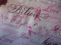 Breast Cancer AWARENESS Pink hand stamped fabric by ThePeonyShanty, $4.85