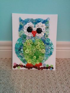 Button Art Owls by ButtonItMeg on Etsy, $35.00