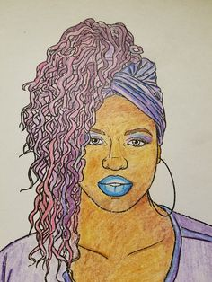 Natural Hair Adult Coloring Page from our Natural hair adult coloring book. Natural Hair Updo model is wearing a loc updo and a turban.