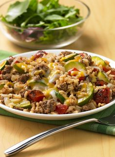 For a quick and easy fire roasted dinner dish that's ready in 30 minutes, whip up this zesty Zucchini-Beef-Rice Skillet!