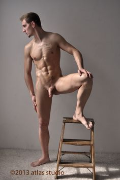 Model figure male poses nude