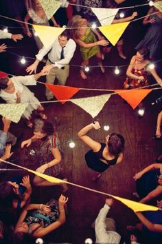 Dance party with globe lights and fun bunting.