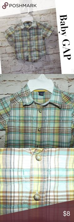 Baby GAP Toddler Boy Plaid Oxford Shirt Baby GAP Toddler Boy Plaid Oxford Shirt 18-24 Mo Blues White Tan S/Sleeve  Excellent, worn once. Gap Shirts & Tops Button Down Shirts