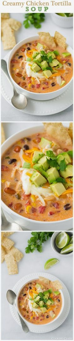 Creamy Chicken Tortilla Soup - this soup is seriously delicious! Hearty and comforting also GF.: Creamy Chicken Tortilla Soup - this soup is seriously delicious! Hearty and comforting also GF. Latin Food Recipe Share and enjoy! Mexican Food Recipes, Soup Recipes, Chicken Recipes, Dinner Recipes, Cooking Recipes, Healthy Recipes, Chicken Soups, Healthy Soup, Recipies
