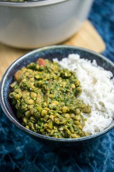 Lentil Spinach Curry with Coconut Rice
