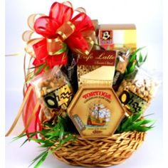 Just For Him, Gift Basket For Men! -  This masculine, walnut stained basket, offers a tasty selection of snacks and sweets that are popular with the man-folk. This no muss, no fuss, non-frilly gift is anything but girly and makes the perfect gift, just for him.
