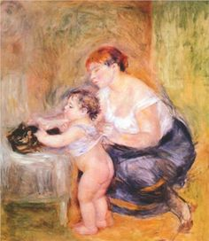 Mother and child - Pierre-Auguste Renoir. This is such a typical moment of motherhood. Trying to dress or undress a busy little child and protect the cat from curious hands at the same time.